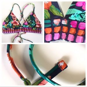 Tropical bikini halter top